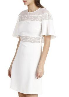 Robe courte à empiècements dentelle Blanc by SANDRO Avec guipure Chloé superposée