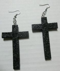 Black Glitter Cross Earrings by radicalrecycle Cross Earrings, Dangle Earrings, Black Glitter, Dangles, Bling, Crosses, Unique Jewelry, Handmade Gifts, Jewellery