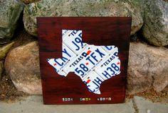 Texas License Plate Map - Handmade Original