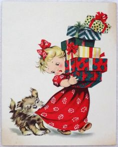 #1807 50s Dog Wants Her Attention! Vintage Christmas Card-Greeting - http://www.pinterest.com/mjoyingitall/winter-christmas/