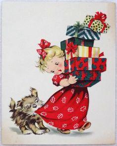 #1807 50s Dog Wants Her Attention! Vintage Christmas Card-Greeting - http://www.pinterest.com/mjoyingitall/winter-christmas/