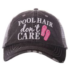 Pool Hair Don't Care Trucker Hat With Flip Flop