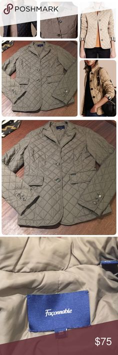 """Façonnable Quilted Jacket French tailoring and fashionable-- a staple this winter. Collage for styling reference--Jacket full photo second image and detail on third. Chest 18"""", length 25"""", sleeves 24-1/4""""--all measurement taken flat. Façonnable Jackets & Coats Puffers"""
