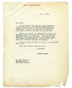 "July 1, 1941, Letter to Otto Frank from Nathan Straus regarding the Frank's immigration, saying ""I would very much like to help you. I am afraid, however, the news is not good news."" Otto Frank was the father of Anne Frank. The Otto Frank File was discovered within the HIAS material at YIVO."