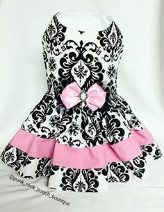 Custom made beautiful damask pet dog cat dress by PunkRockPooch on Etsy https://www.etsy.com/listing/264127330/custom-made-beautiful-damask-pet-dog-cat - Tap the pin for the most adorable pawtastic fur baby apparel! You'll love the dog clothes and cat clothes! <3