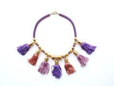 70s CADORO tassel haute couture sequin runway necklace | Market Publique