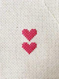 Two Hearts Valentine's Day Cross-stitch