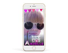 Girl Rock Star Snapchat Geofilter,  Guitar Birthday Filter, Music Birthday Geofilter, Rock and Roll Geofilter, Rock Star Rock And Roll, Snapchat, Filter, Guitar, Stars, Birthday, Music, Handmade Gifts, Kids