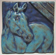Horse in Stable Ceramic Art Tile deep turquoise via Etsy...$31.00 MXS
