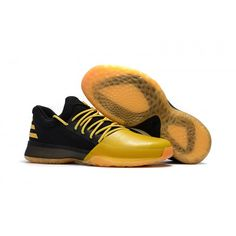 new product a2a2d 19a04 adidas Harden Vol 1 Fear the Fork Sort Gul Sko Adidas Harden Billige James  Harden,