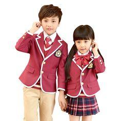 7d061bfb26f33 Tops 2018 Niños Uniformes Escolares Para Las Niñas Uniforme Escolar Niños  Chaquetas de Traje Con Cuello