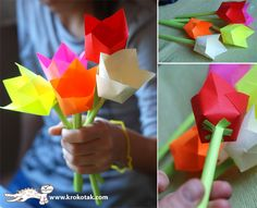 simple tulips for kids that isn't really origami since there's some cutting and gluing Kids Crafts, Easter Crafts, Craft Projects, Projects To Try, Arts And Crafts, Craft Ideas, Flower Crafts, Diy Flowers, Spring Flowers