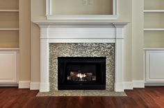 Fireplace with glass tile