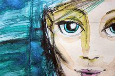 Riikka Kovasin - Paperiliitin: Blue haired - Mixed Media Place