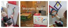 Magnetic Board from Teach Preschool--when she's not using it in another area it is attached to back of bookcase with industrial strength Velcro!!