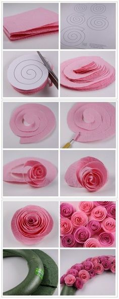 Cat's Wedding- How to make pretty rose wreath step by step DIY tutorial instructions Paper Flowers Diy, Felt Flowers, Flower Crafts, Fabric Flowers, Craft Flowers, Felt Roses, Wreath Crafts, Paper Flowers How To Make, Crepe Paper Roses