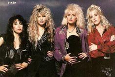 """Vixen is an all-female American hard rock band. Hailed as """"the female Bon Jovi"""", the band achieved commercial success during the late 80s Heavy Metal, 80s Big Hair, 80s Hair Bands, Women Of Rock, Glam Metal, Taylor Swift Style, Female Guitarist, Glam Rock, Vixen"""