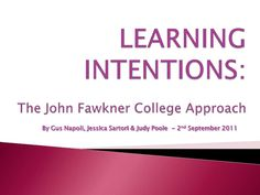Learning Intentions | Professional Learning PowerPoint slideshow, shared through Slideshare