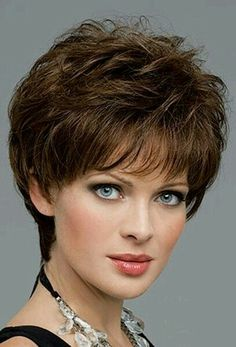 Aubrey by Envy Wigs - Monofilament, Hand Tied, Human Hair, Synthetic Blend Wig - kurzhaarfrisuren Short Haircuts 2014, Cute Hairstyles For Short Hair, Short Hair Cuts For Women, Wig Hairstyles, Curly Hair Styles, Pixie Haircuts, Haircut Short, Layered Haircuts, Short Stacked Hairstyles