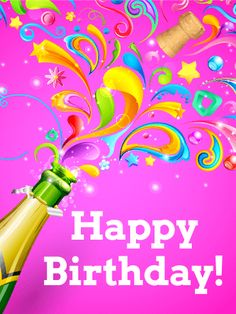 Flashy Birthday Party Card: Grab the champagne - it's time for a celebration! Birthdays are the perfect time to make a big deal of your loved ones, so make this a birthday that everyone will remember! The colors and designs on this Happy Birthday card will explode off the screen and show your loved one how excited you are for their special day. So pop the cork and begin the birthday celebrations for the one you hold dear!