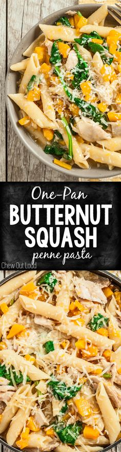 Enjoy the bounty of fall squash with this One-Pan Butternut Squash Penne Pasta. Weeknight dinner = delicious, easy, and healthy. #butternut #pasta