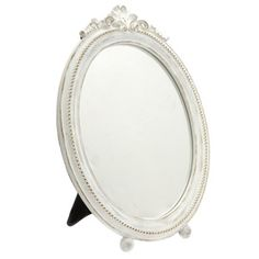 Cream Footed Oval Dressing Table Mirror