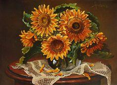 still life - Sunflowers by dusanvukovic - art