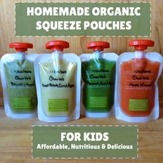 Homemade Organic Squeeze Pouches for Kids! With baby #2 on her way to solids and baby #1 obsessed with pouches- I think this is definitely the way to go!