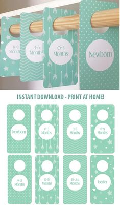 PRINTABLE - Sea foam Mint Nursery - Closet Dividers - Baby Room - Nursery Decor - Nursery Organization - Baby Shower Gift - Gender Neutral #aff