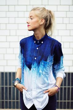 blau-weiße Ombre-Bluse // blue and white ombre blouse via DaWanda.com