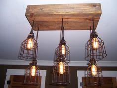 The Farmhouse-Industrial Cage Chandelier Light-Edison Bulb