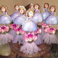 Sofia the first birthday party centerpieces
