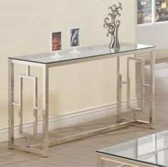 Contemporary Console Table Living Room Furniture Glass Top Satin Plated Finish