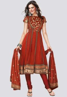 Embroidered Rust dress material