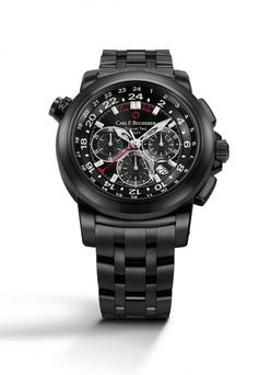 The #carlfbucherer Patravi TravelTec in Black features a scratch-resistant black DLC coating on its 46.6 mm stainless steel case and bracelet; this dark, monotone look echoes that of the black dial, which displays three time zones simultaneously. It holds the chronometer-certified automatic chronograph Caliber CFB 1901.1.  More info. @ http://www.watchtime.com/wristwatch-industry-news/watches/carl-f-bucherer-patravi-traveltec-in-black/ #watchtime #menswatches #watchnerd  #Baselworld2016