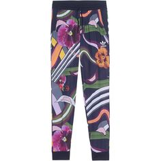 ADIDAS ORIGINALS Floral Burst Cuffed Navy Multi // Patterned track... ($77) ❤ liked on Polyvore featuring activewear, activewear pants, adidas originals and track pants