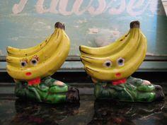 Vintage Japan Anthropomorphic Tropical Banana Faces Salt & Pepper Shakers