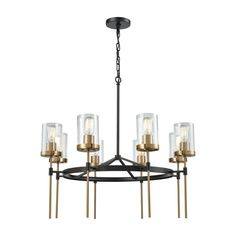 Titan Lighting North Haven 8-Light Round Oil Rubbed Bronze with Satin Brass Accents Chandelier with Clear Glass Shades