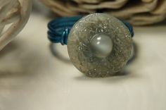 Partly cloudy skies vintage glass button ring