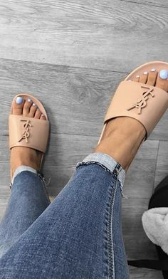 YSL Joan Slides Outfit #ysl #ysljoanslides #yslslides Sandals Outfit, Cute Sandals, Shoes Sandals, Sneakers Fashion, Fashion Shoes, Hype Shoes, Sneaker Heels, Pretty Shoes, Dream Shoes