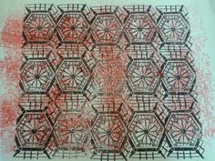 Repeat pattern of lino print roof.