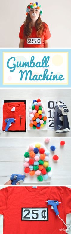 A gumball machine costume is a fun, budget-friendly idea for Halloween. It's perfect for beginner crafters who prefers no-sew projects. This costume consists of a beanie and a T-shirt, making it extremely comfortable to wear.  Read more : http://www.ehow.com/how_2318386_make-gumball-machine-costume.html?utm_source=pinterest.com&utm_medium=referral&utm_content=freestyle&utm_campaign=fanpage