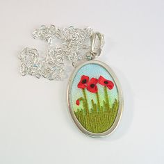 Red poppies necklace ribbon embroidered flower jewelry от bstudio