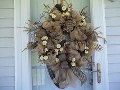 Primitive~ XL Crow~ Door~Wall Wreath~Tea Stained Daisies~Bows~Mesh~Metal Stars #Handmade