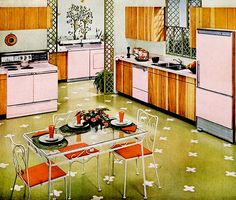 Retro Pink Kitchen - love that floor, too! Kitsch, Vintage Interior Design, Vintage Interiors, Modern Interior, 1960s Kitchen, Vintage Kitchen, Retro Kitchens, Modern Retro Kitchen, Modern Kitchens