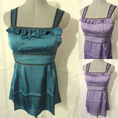 Nwt RUFFLE TRIM tank top Camisole womens S,M,L Teal,Lilac empire Satin Bodice in Clothing, Shoes & Accessories, Women's Clothing, Tops & Blouses | eBay