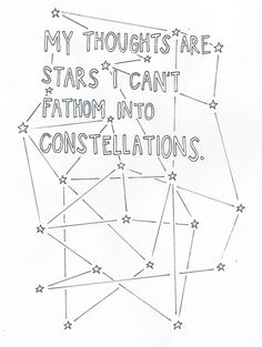 """My thoughts are stars I can't fathom into constellations."" - John Green, The Fault in Our Stars"