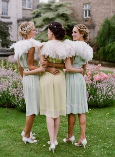 Feathered friends #pastel #bridesmaid #dresses