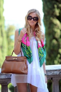 loving the bright scarf on white flowy dress.