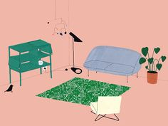 Dutch illustrator Lianne Nixon's eye for perspective helps her create impeccable interior illustrations. This fascination with decorative homes started with a design purchase, a replica of an Eames DAW chair.